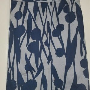 Boden Gray Blue Floral Lined Pencil Skirt